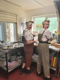 The Land Girls working hard in the kitchen