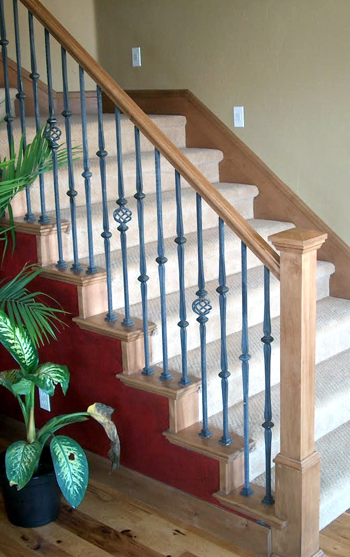 Add A Wood Handrail To Your Wrought Iron Balustrade Stair Makeover | Wood Railing With Metal Spindles | Metal Stair | Decorative | Different Kind Wood | Wood Handrail | Modern