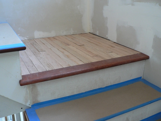 What Is Landing Tread Landing Tread Installation   Wooden Stairs Carpet Landing   French Cap   Contemporary   Redo   Upstairs   Partially Carpeted