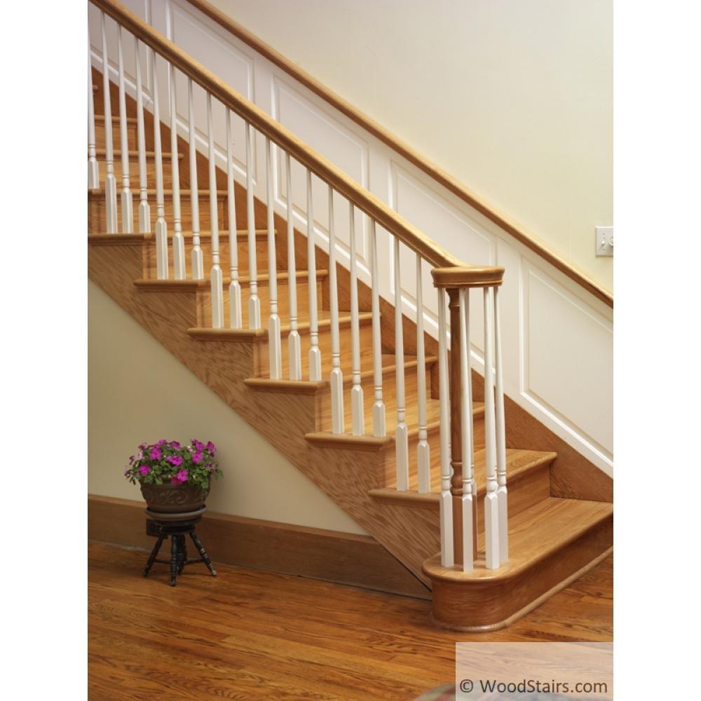 Wood Stairs6010 Handrail Wood Stair Hand Railing Lj 6010 Profile   6010 Red Oak Handrail   Stair Handrail   Start Easing   Iron Balusters   Tandem Cap   Staircase Handrail
