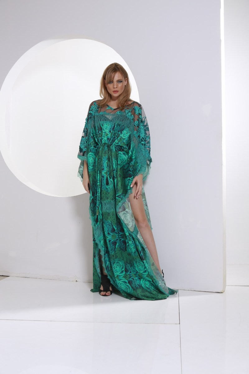Green Satain Caftan