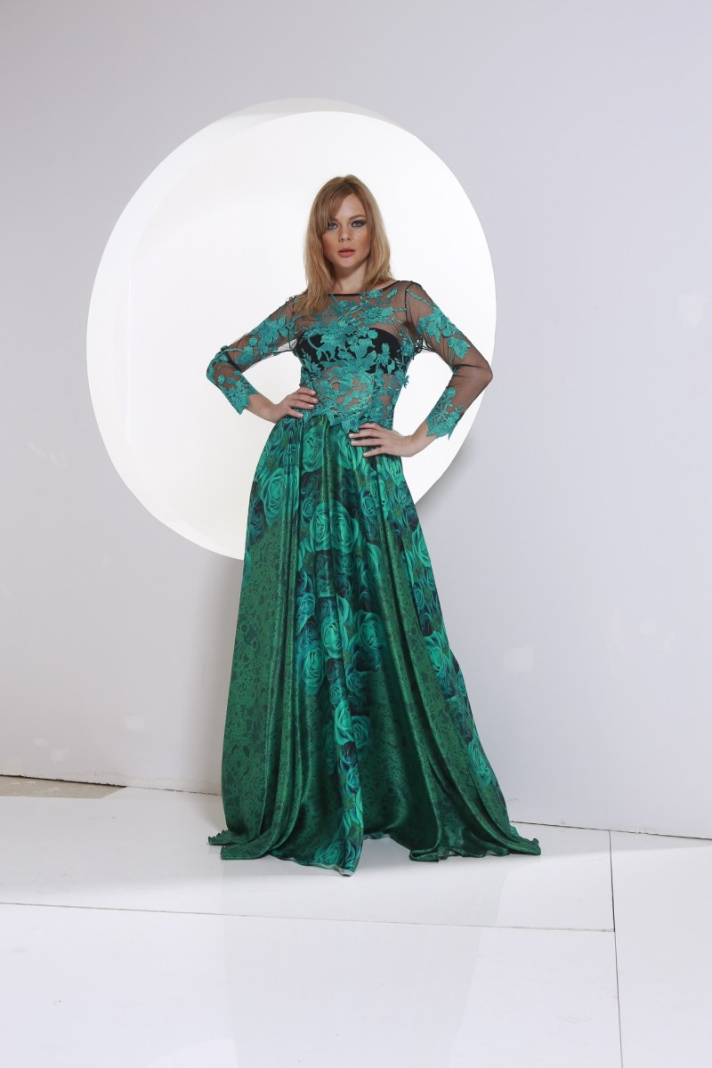 Satain Green Dress