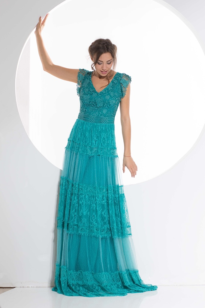 Aqua color lace dress