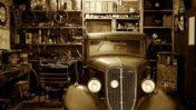 vintage car in garage room