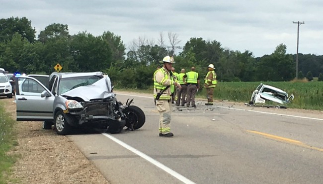 Head-on crash in Georgetown Twp  sends 8 to hospital