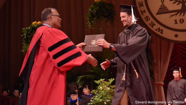 A photo of Danny DeKeyser at his graduation ceremony at Western Michigan University on June 29, 2019. (Courtesy of Edward Montgomery via Twitter)