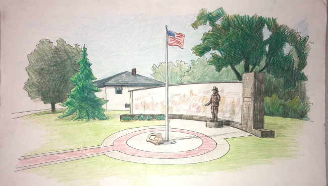 A sketch of memorial to honor late firefighters, including a statue for Chief Ed Switalski. (June 14, 2019)