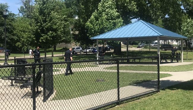 Police are at a scene of shooting on Joe Taylor Park in Grand Rapids.