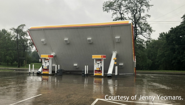 A photo of a tipped over awning at Johnny's Markets Shell Station in Mendon. (June 20, 2019)