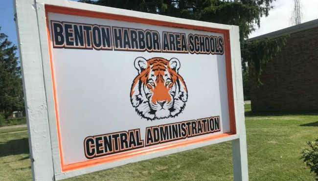 Sign for Benton Harbor Area Schools Central Administration
