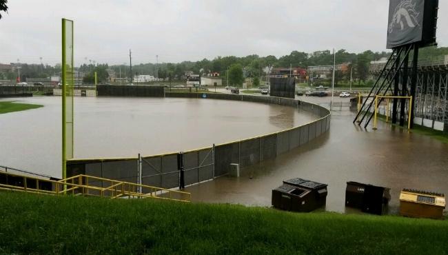 The field of Waldo Stadium flooded after heavy rains in Kalamazoo. (June 20, 2019)