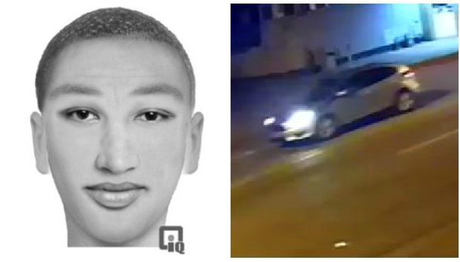 Sexual assault person of interest rendering and surveillance photo
