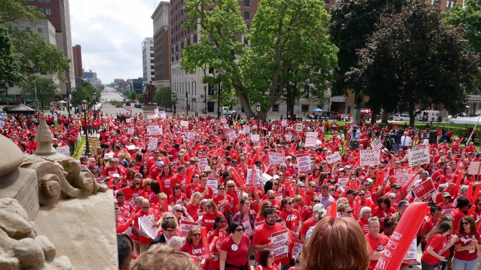 Red for Ed rally in Lansing