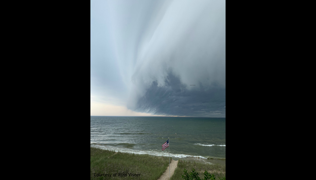 A photo of the storm coming off the lake in Holland. (Courtesy of Russ Visner)
