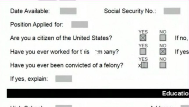 job application shows criminal history question box