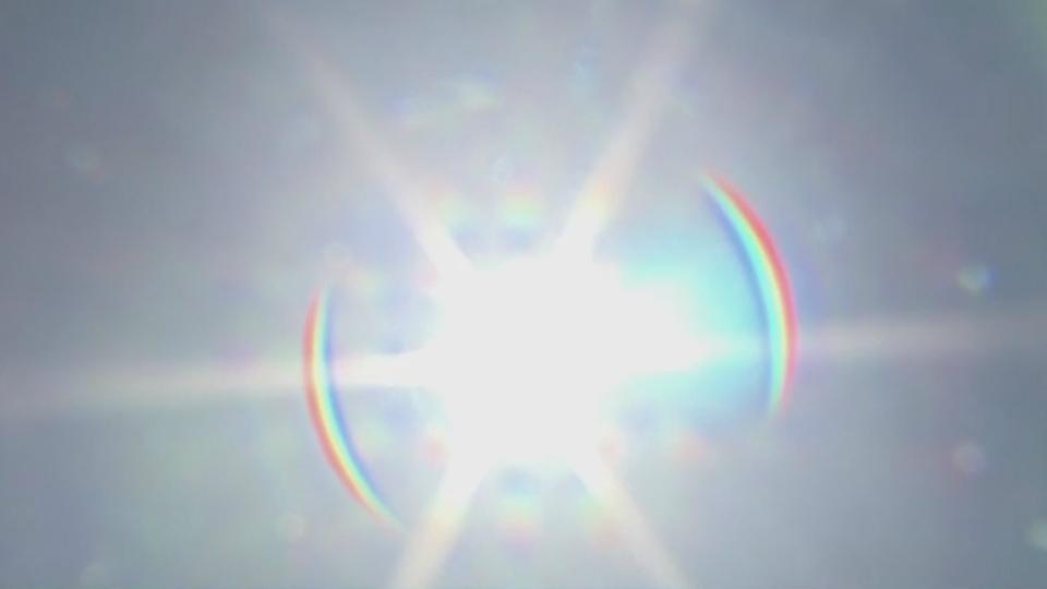 Sun shines in sky