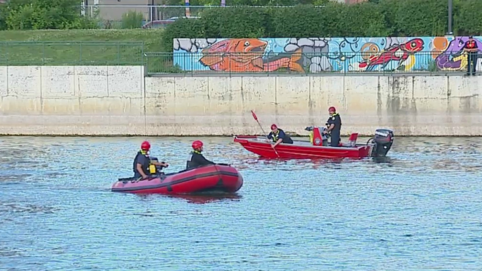 Water rescue crews on the Grand River in Grand rapids on July 22, 2019.