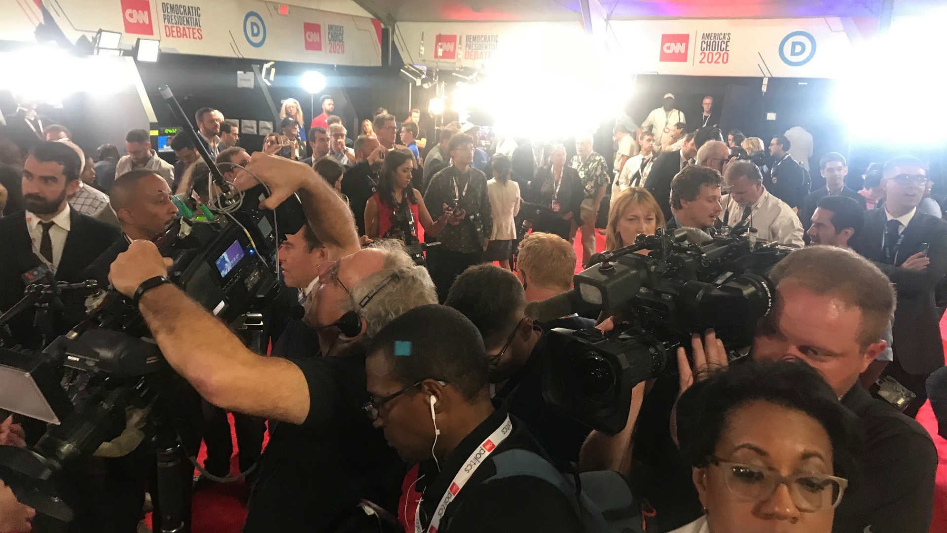 detroit democratic presidential debate spin room