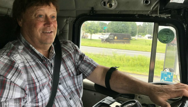 Truck driver Terry Button behind the wheel