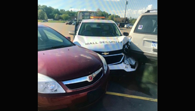 Mall security guard vehicle smashed into vehicle