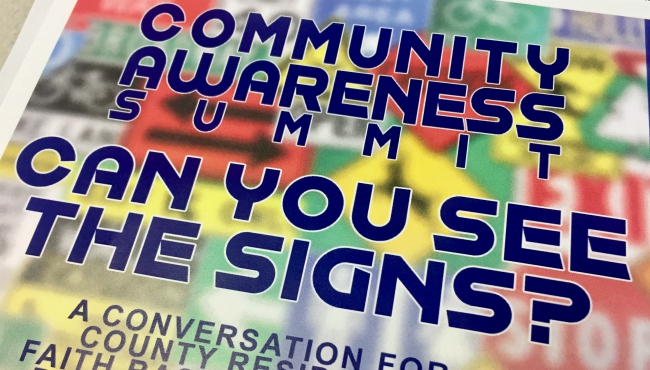 "A flyer for the ""Can You See The Signs"" summit event coming to Grand Rapids. (Aug. 17, 2019)"