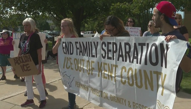 People protest Kent County's contract with Immigration and Customs Enforcement on Aug. 24, 2019.