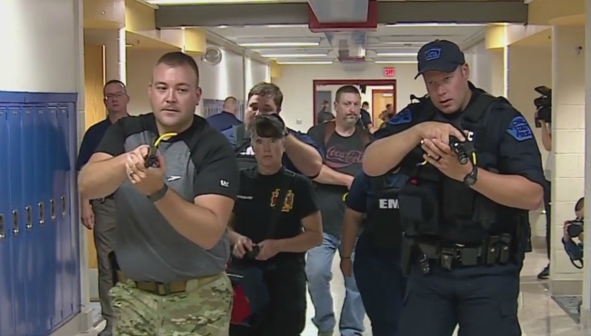A photo of an active shooter training hosted by the Van Buren County Sheriff's Office.