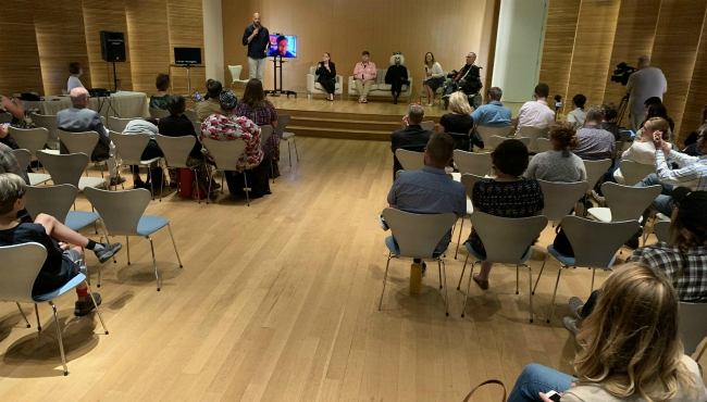 A photo of a community forum at the Grand Rapids Art Museum to talk about the Drag Syndrome event. (Aug. 23, 2019)