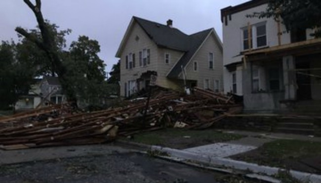 Storm damage near the intersection of Livingston Avenue SE and Hastings Street NE in Grand Rapids Thursday, Sept. 12, 2019.