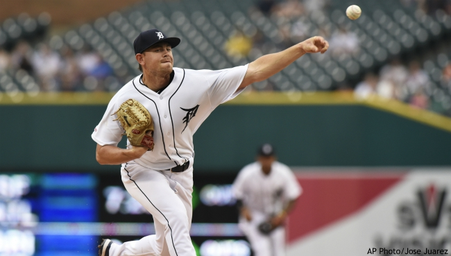 Detroit Tigers starting pitcher Tyler Alexander throws to a Chicago White Sox batter during the first inning of a baseball game Saturday, Sept. 21, 2019, in Detroit. (AP Photo/Jose Juarez)