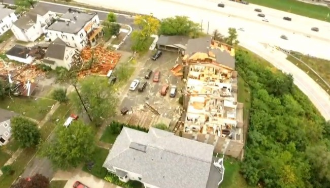 Drone 8 footage of the storm damage around Belknap Lookout in Grand Rapids Thursday, Sept. 12, 2019.