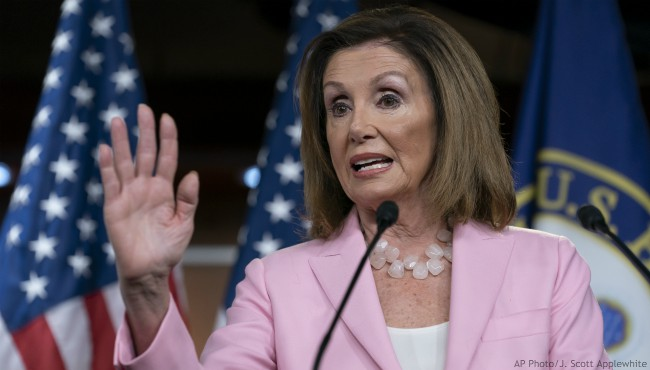 On this Sept. 12, 2019, photo, House Speaker Nancy Pelosi, D-Calif., speaks at the Capitol in Washington. (AP Photo/J. Scott Applewhite)