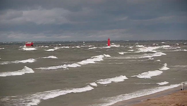 Waves on Lake Michigan in Grand Haven around 9 a.m. Tuesday, Oct. 22, 2019.