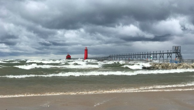 Waves on Lake Michigan in Grand Haven Tuesday, Oct. 22, 2019.