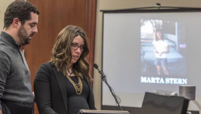 A photo of Marta Stern in court while giving her victim impact statement about Larry Nassar's sentencing.