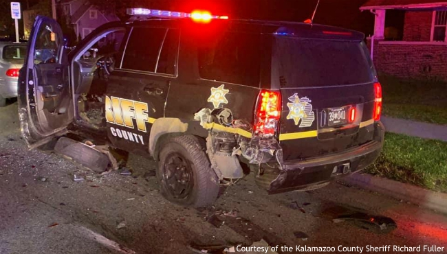 A photo of Kalamazoo County Sheriff's cruiser after a suspected drunk driver smashed into the back of it on Oct. 18, 2019. (Courtesy of the Kalamazoo County Sheriff Richard Fuller)
