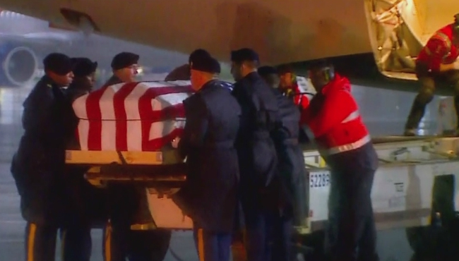 A photo of Sgt. David Feriend's remains being returned on Oct. 11, 2019.