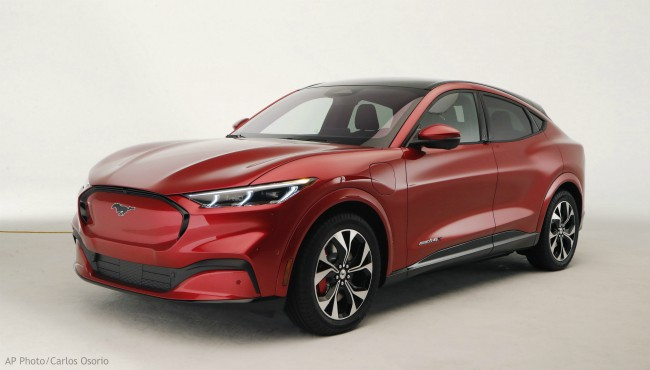 In this Wednesday, Oct. 30, 2019 photo, the new Ford Mustang Mach-E SUV is shown in Warren, Mich. (AP Photo/Carlos Osorio)