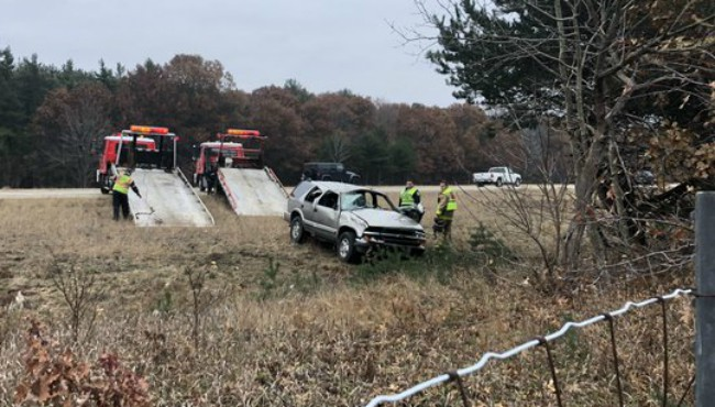 Authorities on scene of a single-vehicle rollover crash on I-96 in Muskegon County Wednesday, Nov. 20, 2019.