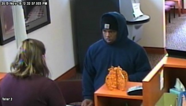 A surveillance photo of a man who police said robbed a bank in Three Rivers Monday, Nov. 18, 2019. (Three Rivers Police Department)