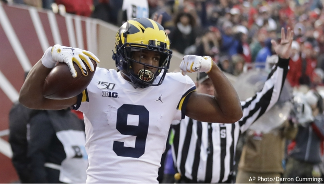Michigan wide receiver Donovan Peoples-Jones (9) celebrates a touchdown reception during the first half of an NCAA college football game against Indiana, Saturday, Nov. 23, 2019, in Bloomington, Ind. (AP Photo/Darron Cummings)
