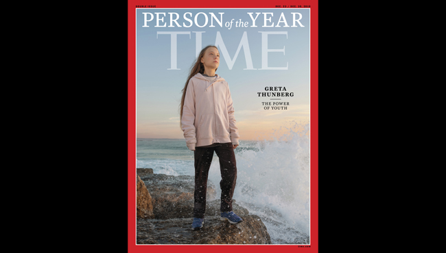 "This photo provided by Time magazine shows Greta Thunberg, who has been named Time's youngest ""person of the year"" on Wednesday, Dec. 11, 2019."