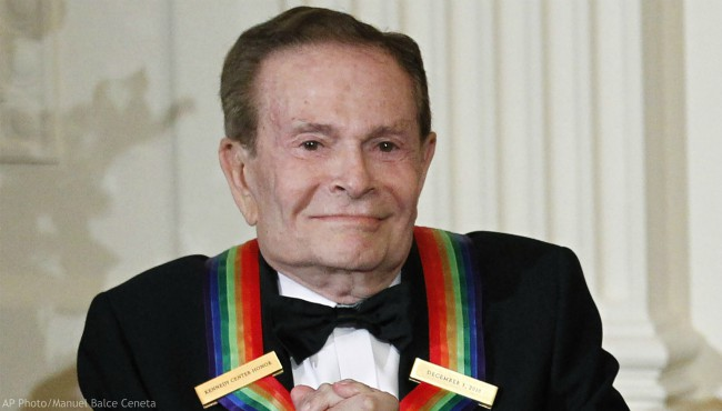 In this Dec. 5, 2010, file photo, composer Jerry Herman, one of the recipients of the 2010 Kennedy Center Honors is introduced during a reception in the East Room of the White House in Washington. (AP Photo/Manuel Balce Ceneta, File)