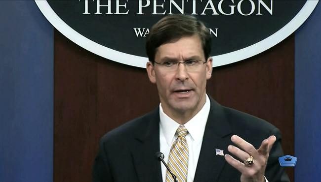 In this image from video, Secretary of Defense Mark Esper talks to the press on Iran and Iraq, Tuesday, Jan. 7, 2020, at the Pentagon in Washington.