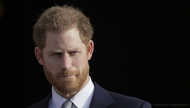In this Thursday, Jan. 16, 2020, file photo, Britain's Prince Harry arrives in the gardens of Buckingham Palace in London.