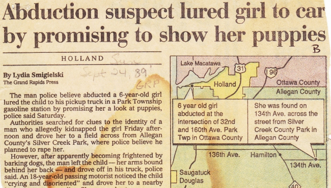 A Grand Rapids Press story of 1989 child abduction in Ottawa County.