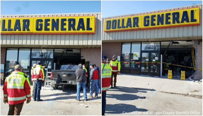 Photos of a pickup truck that drove into Dollar General in Hamilton on Feb. 21, 2020. (Courtesy of the Allegan County Sheriff's Office)