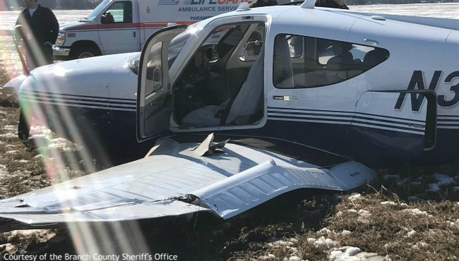 A photo of a small airplane crash in Branch County on Feb. 22, 2020. (Courtesy of the Branch County Sheriff's Office)