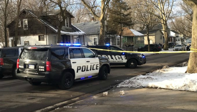 Authorities respond to a shooting on North Church and West Proudy streets in Kalamazoo on Feb. 18, 2020.