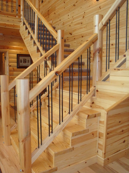 Log Railings And Stairs Cedar And Pine Log Railing Systems | Pine Handrail For Stairs | Stair Parts | Anti Slip | Handrail Brackets | Stair Treads | Wood Stair